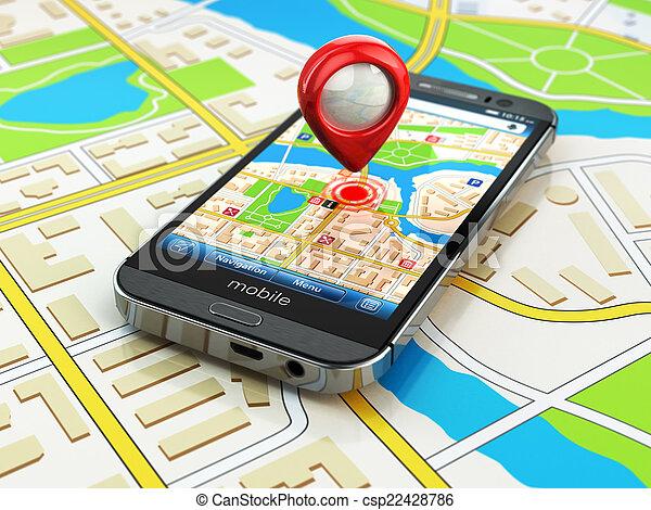 carte, smartphone, ville, mobile, concept., navigation, gps - csp22428786