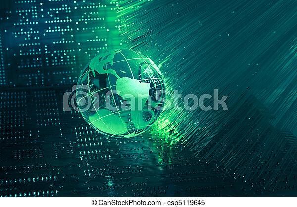 carte, style, fibre optique, contre, fond, mondiale, technologie - csp5119645