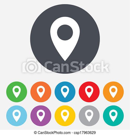 carte, symbole., emplacement, icon., indicateur, gps - csp17963629
