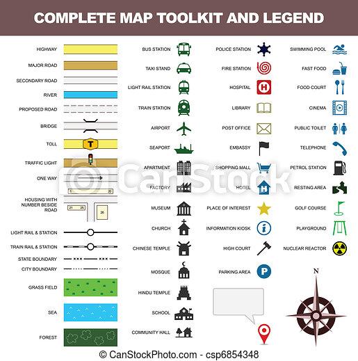carte, symbole, valise, signe, légende, icône - csp6854348