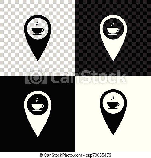 carte, tasse à café, isolé, illustration, arrière-plan., chaud, vecteur, noir, blanc, indicateur, transparent, icône - csp70055473