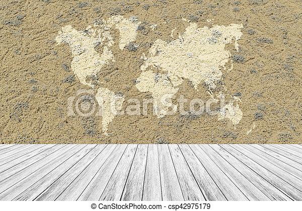 Carte Texture Sable Bois Surface Mondiale Terrasse  Image