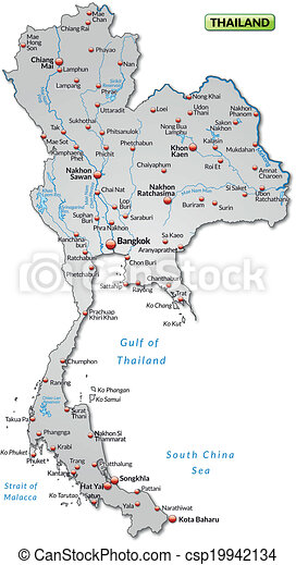 Carte Thailande Imprimer.Carte Thailande Presentation Gris