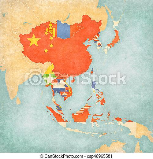 Carte Asie Est.Carte Tout Pays Asie Est
