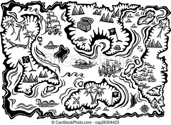 Carte Au Tresor Noir Et Blanc.Carte Tresor