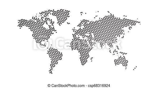 Carte Triangle Illustration Pointille Plat Map Isole Illustration Halftone Vecteur Arriere Plan Noir Mondiale