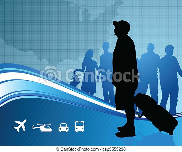 carte, uni, voyageurs, etats - csp3553238