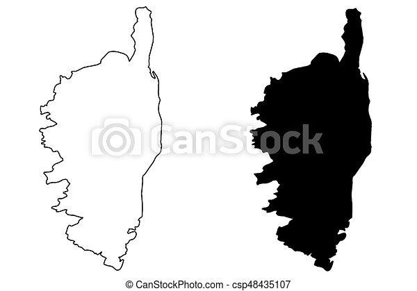 Carte Corse Noir Et Blanc.Carte Vecteur Corse