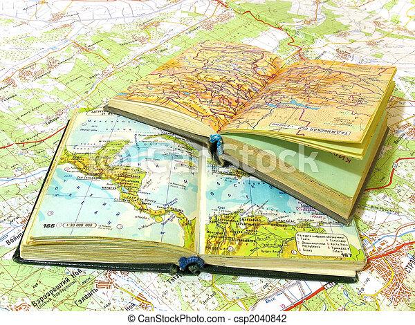 carte, vieux, ouvert, deux, diffusion, atlas, livre - csp2040842