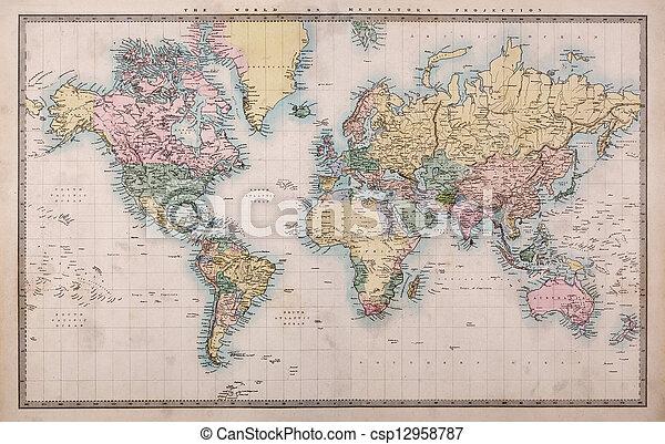 carte, vieux, projection, mondiale, mercators - csp12958787