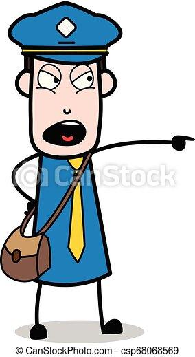 carteiro, apontar, -, ilustração, shouting, vetorial, mensageiro, sujeito, caricatura - csp68068569