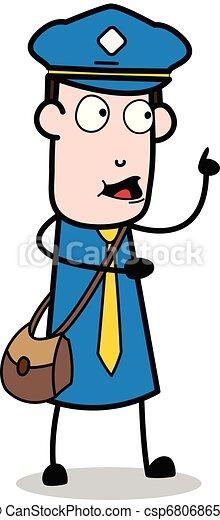 carteiro, apontar, -, ilustração, falando, enquanto, vetorial, mensageiro, sujeito, caricatura, cima - csp68068657