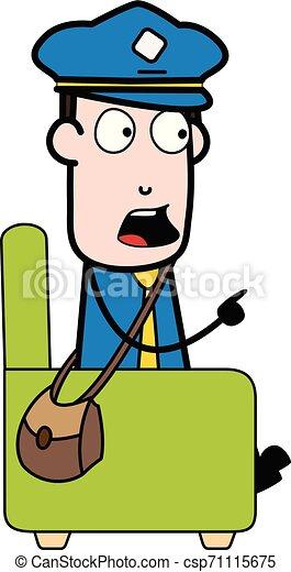 carteiro, apontar, sentando, sofá, -, ilustração, falando, enquanto, vetorial, mensageiro, retro, sujeito, caricatura - csp71115675