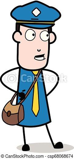 carteiro, mensageiro, -, ilustração, falando, enquanto, vetorial, querer saber, sujeito, caricatura - csp68068674