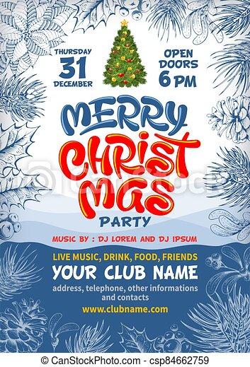 cartel, árbol, navidad, alegre, plano de fondo, letras, adornado, fiesta - csp84662759