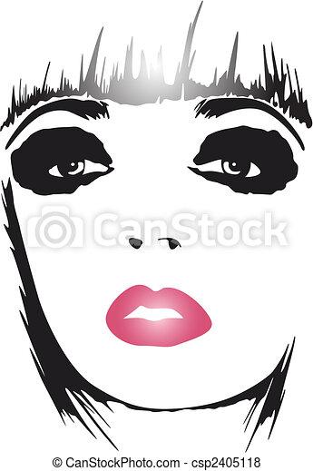 La mujer de la moda hace un póster de arte - csp2405118