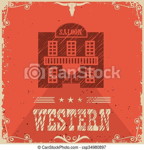 En el bacalao del póster del bar occidental - csp34980897