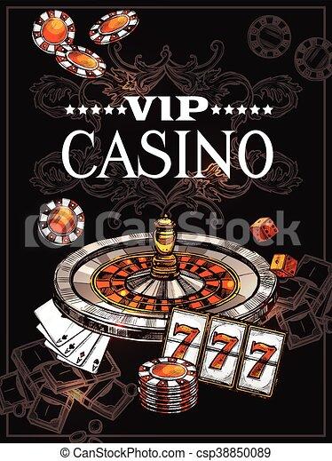 El póster del casino Sketch - csp38850089
