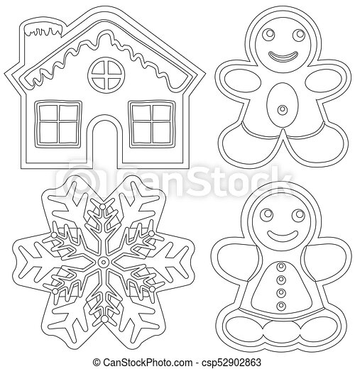 Cartel, -, casa, mujer, negro, snowflake., pan de jengibre, blanco ...