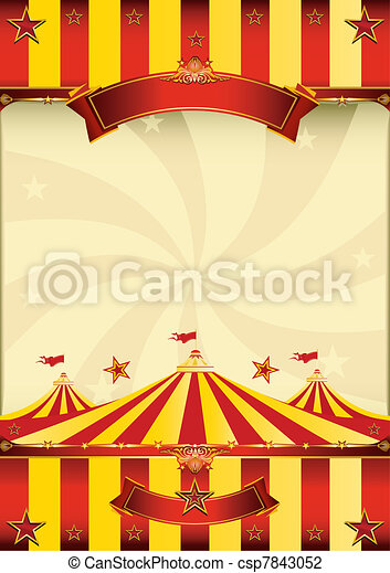 Un póster de circo rojo y amarillo - csp7843052