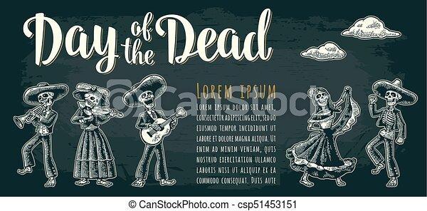 Un póster horizontal de los muertos. El día de las cartas muertas. - csp51453151