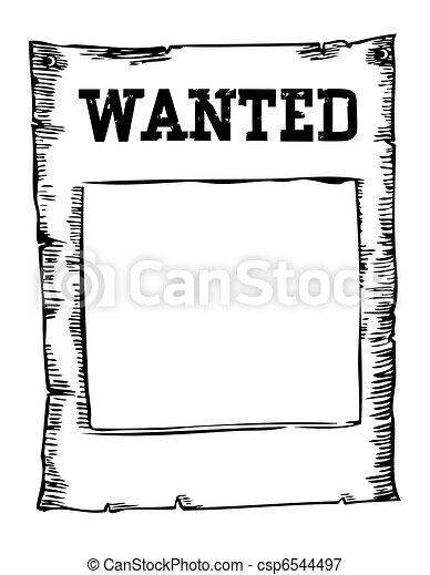 Vector quería imagen de cartel en blanco - csp6544497