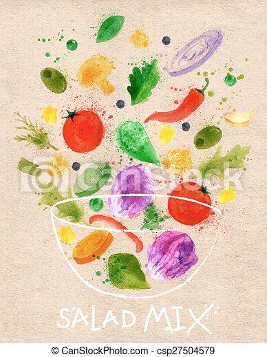 cartel, kraft, mezcla de la ensalada - csp27504579