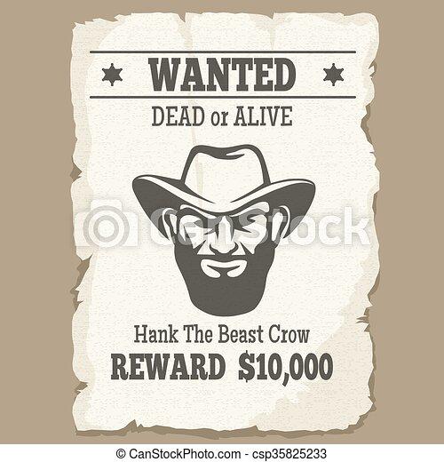 Buscado vivo o muerto póster occidental - csp35825233