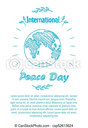 Cartel, paz, tierra, internacional, feriado, día. Azul, bosquejo ...