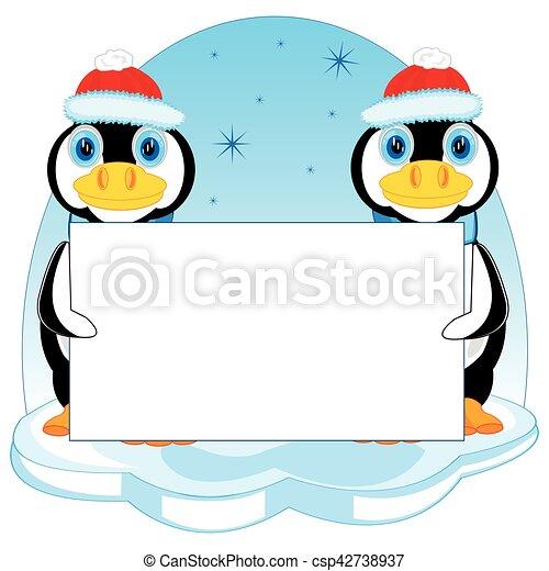 Pingüinos con póster - csp42738937