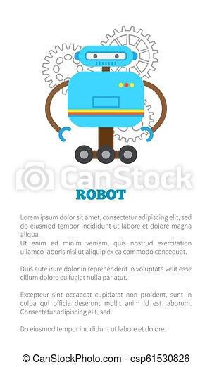 Afiche robot con ilustración de vector de texto - csp61530826