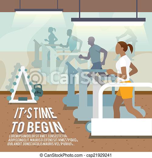 Gente en el cartel de ejercicios de cintas - csp21929241