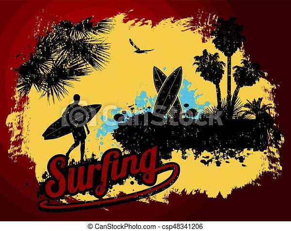 Diseño de carteles de surf - csp48341206