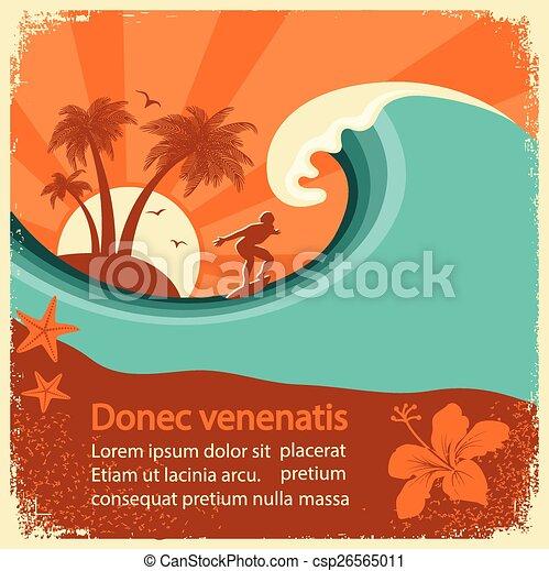Surfer y ola marina en el viejo cartel - csp26565011
