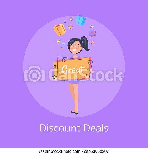 Descuentos se encarga de los carteles de chicas sonrientes soñando - csp53058207