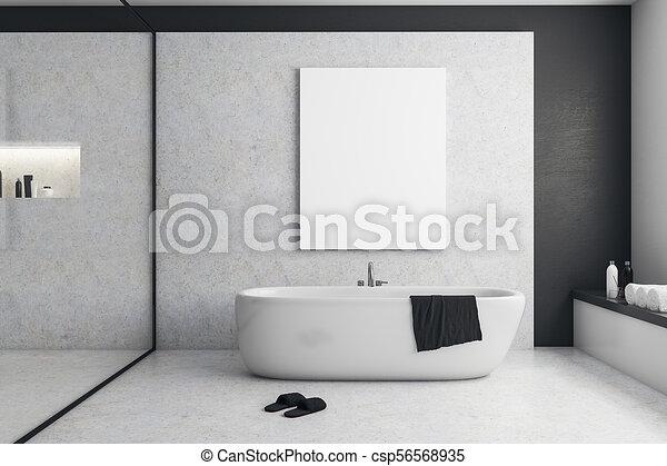 Cartelera, cuarto de baño, moderno, vacío. Cuarto de baño, concept ...