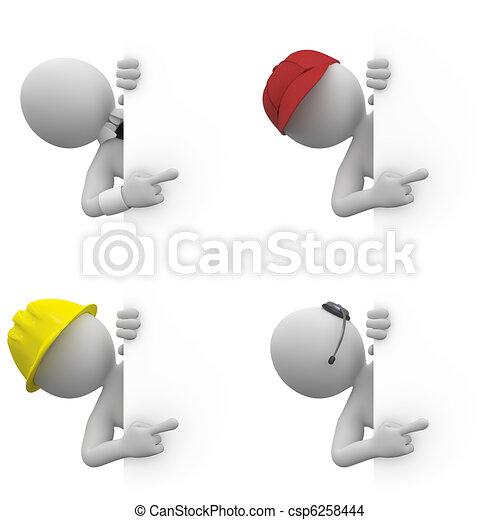 Trabajadores con un cartel - csp6258444