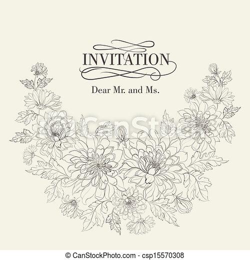 cartelle, chrysanthemums., invito - csp15570308