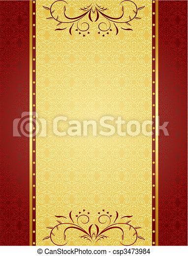cartelle, disegno, fondo, oro, invito - csp3473984