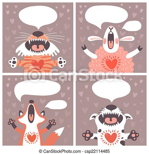 cartelle, divertente, set, animals. - csp22114485