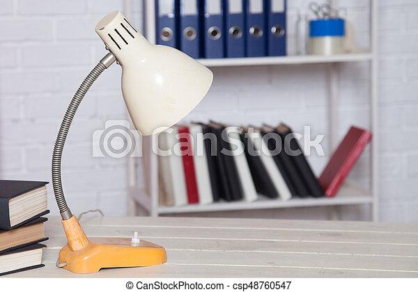 cartelle, ufficio affari, libri, tavola, discarica - csp48760547