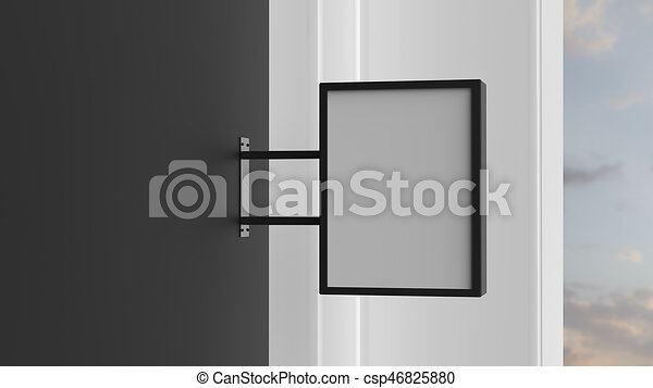 cartello, wall., scuro, illustrating., rettangolo, 3d - csp46825880