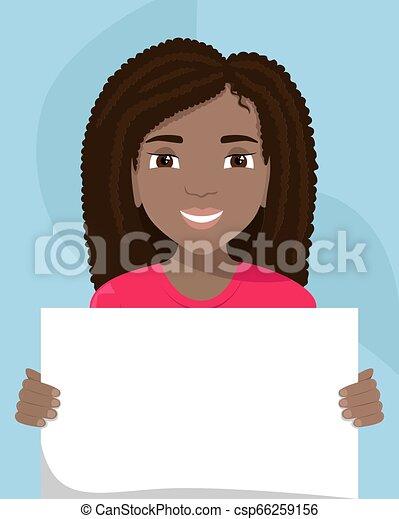 cartellone, vettore, diversity., nero, razziale, lei, donna, hands., illustrazione, appartamento - csp66259156