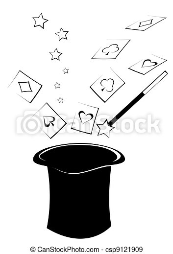 Cartes chapeau sommet magie wizarding voler chapeau dessin cartes - Dessin de chapeau de magicien ...