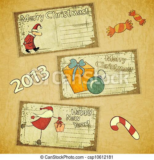 cartes, ensemble, retro, noël - csp10612181