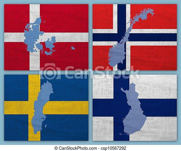 cartes, scandinave, drapeaux, pays - csp10567292