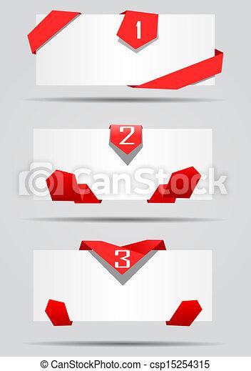 cartes, vecteur, rubans, rouges - csp15254315