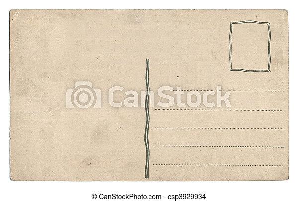 cartolina, bianco, vecchio, isolato, vuoto - csp3929934