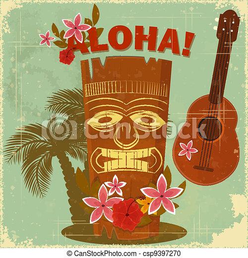 cartolina, vendemmia, hawaiano - csp9397270