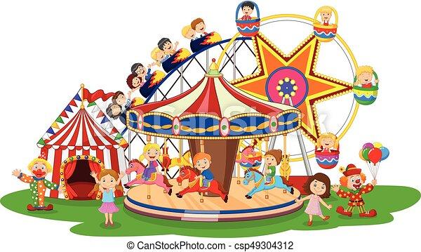 vector illustration of carton amusement park vector clip art rh canstockphoto com park clip art with dogs park clipart background